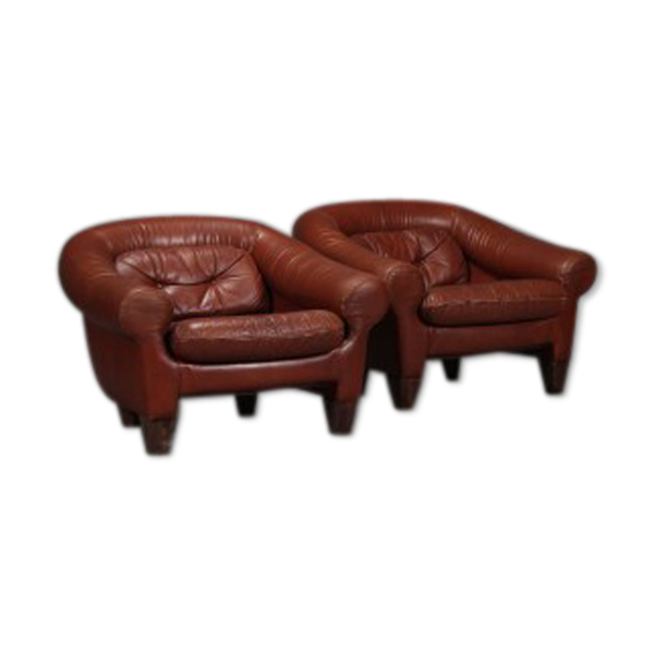 Selency Paire de fauteuils en cuir caramel foncé
