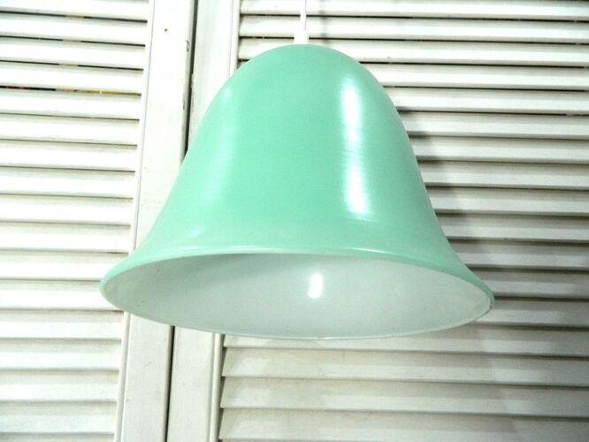 Suspension en verre verte et blanche