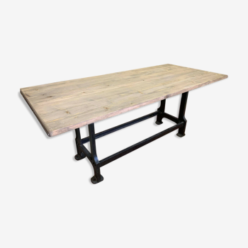 Industrial design large wooden top table with cast iron legs