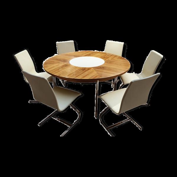 Table à manger circulaire vintage palissandre  et chaises par Richard Young pour Merrow Associates
