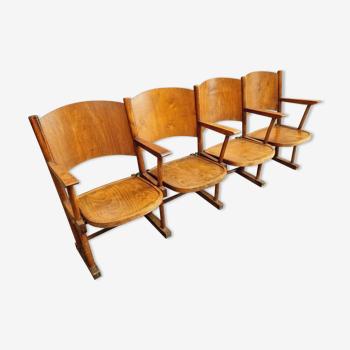 Chaises de théâtre vintage chaises cinéma chêne hêtre