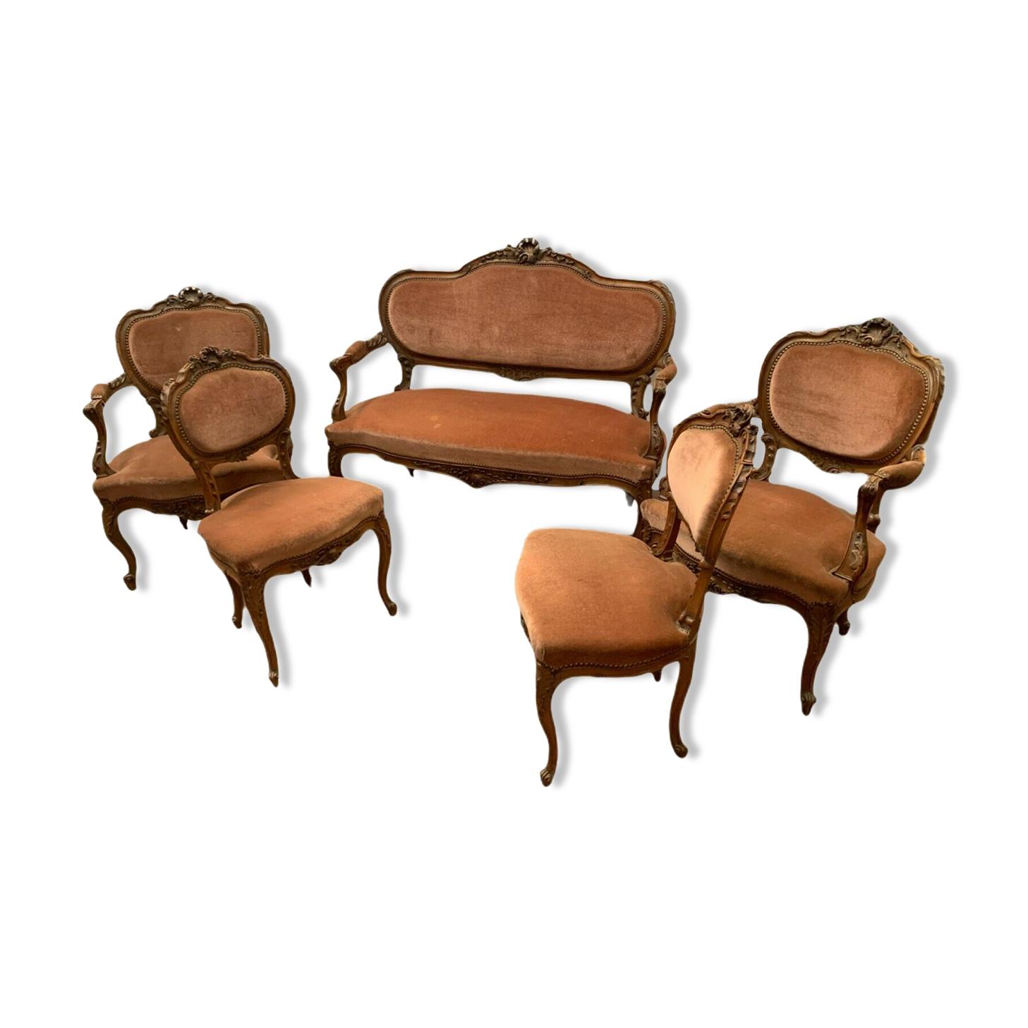Mobilier de salon de style Louis XV en noyer massif XX siècle