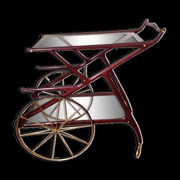 Bar roulant italien en acajou XXème siècle