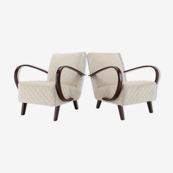 Ensemble de deux fauteuils Tchécoslovaquie années 1950 Jindrich Halabala