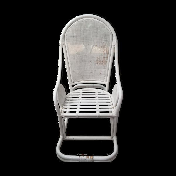 Rocking chair blanc en rotin et cannage