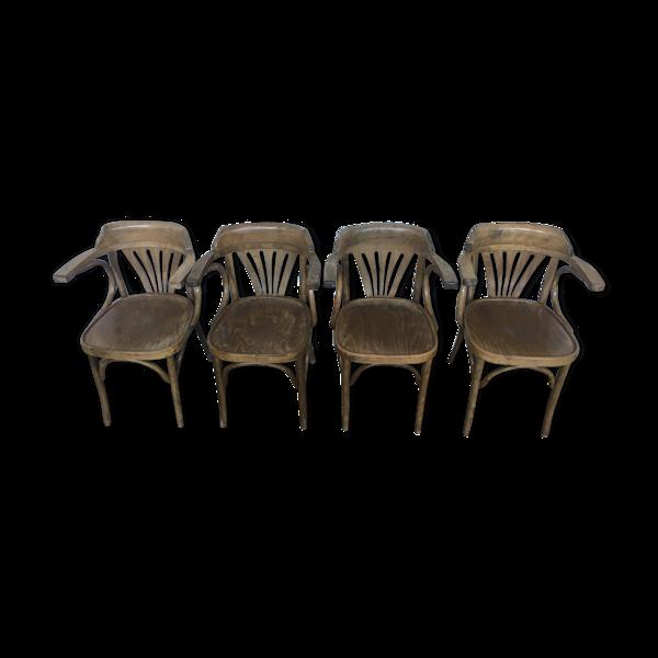 4 fauteuils de bureau bistrot en bois courbé