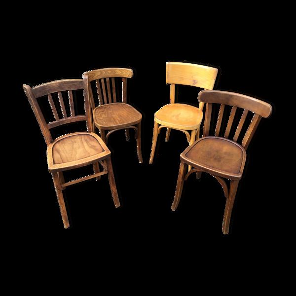 Set de 4 chaises bistrot dépareillé