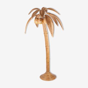 Lampadaire cocotier en rotin
