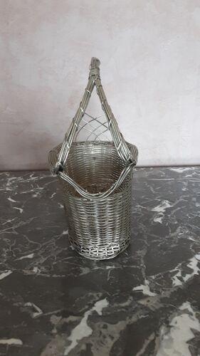Corbeille pour bouteille vin - métal tressé - année 60