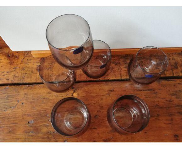 6 verres à eau fumé noir en cristal de bohème