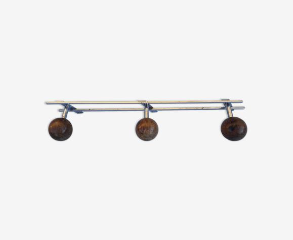 Wooden and metal coat rack