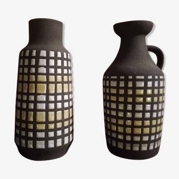 Duo de vases 70's en céramique
