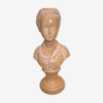 Ancien buste d'enfant en plâtre rosé