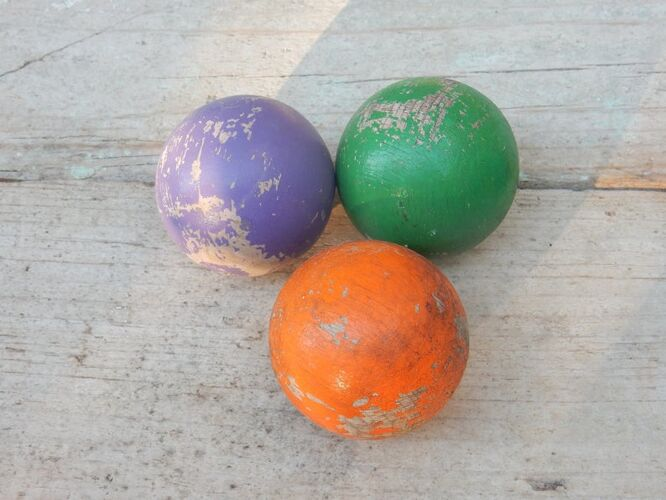 Set de 6 boules de pétanque en bois pour enfants 70s