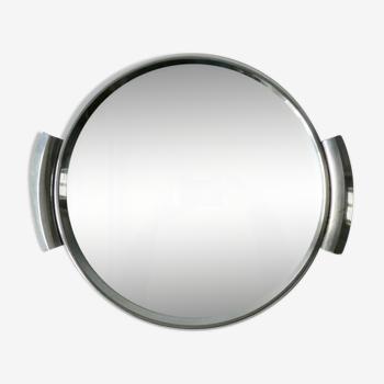 Plateau de service Art Deco, miroir et chrome, 33 cm