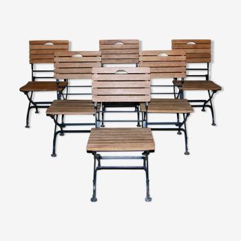 Ensemble de 6 chaises pliantes de jardin ou de bistrot en teck