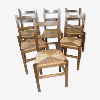 Lot de 6 chaises paillées