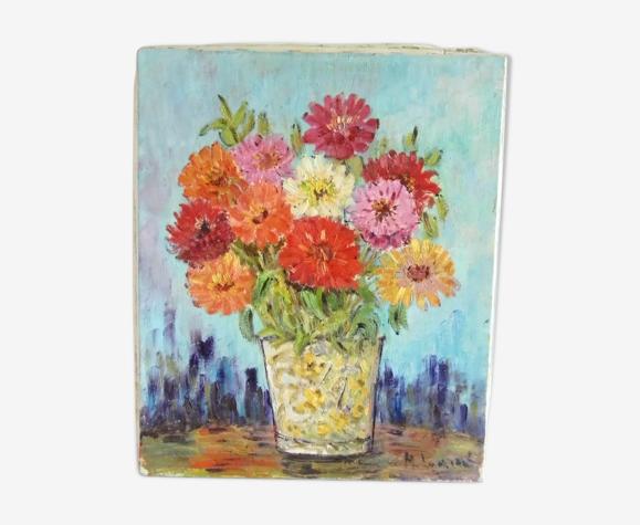 """Tableau huile sur toile 1960 signé M.Laurent peintre provençal """"Les anémones"""""""