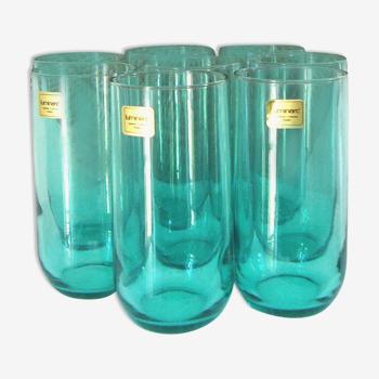 Set de 8 grands verres sur plateau en osier