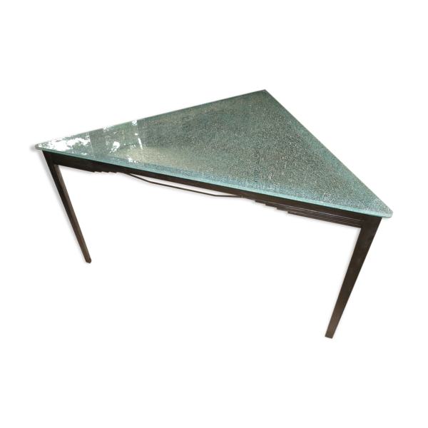 Table design verre métal brossé