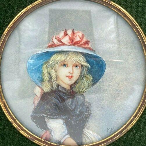 Miniature peinte a la main signe m m XXeme jeune fille cadre bois stucke