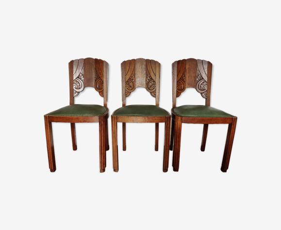 Chaises vintages bois massif