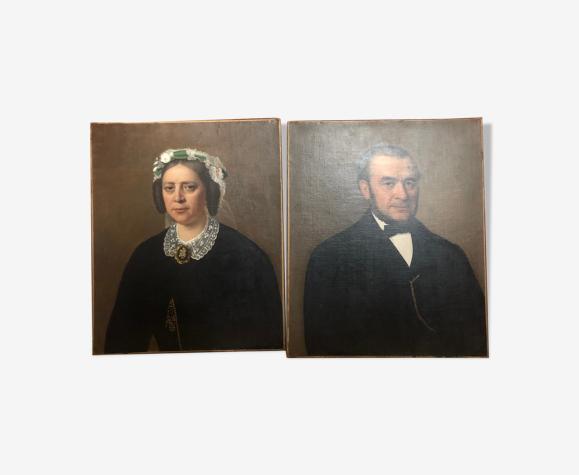 Paire de portraits anciens