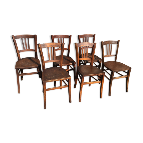 Selency 6 chaises bistrot vintage 1950