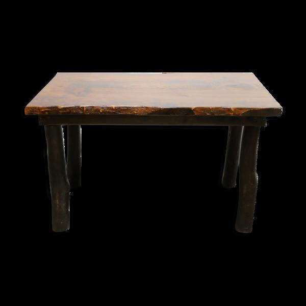 Table à manger brutalistes vintage en bois massif