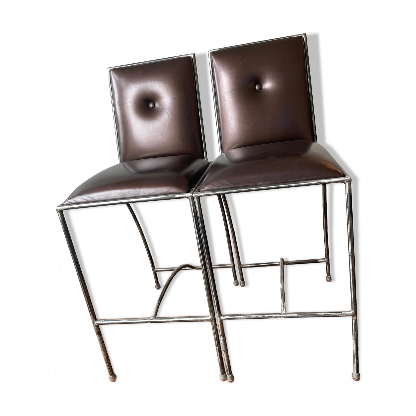 Lot de 2 tabourets avec dossier acier brossé assise marron glacé - designer chantal peyrat