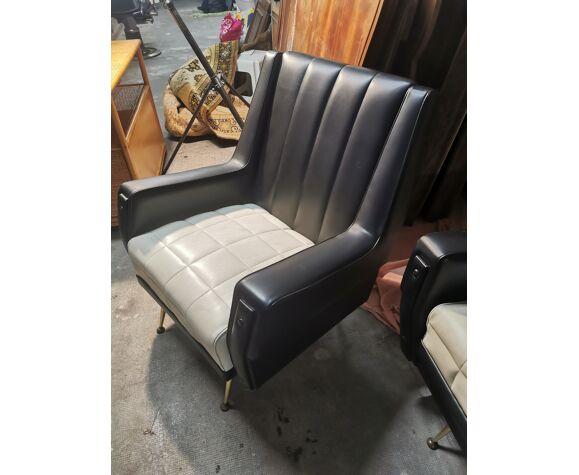 Ensemble canapé et fauteuils skaï année 60