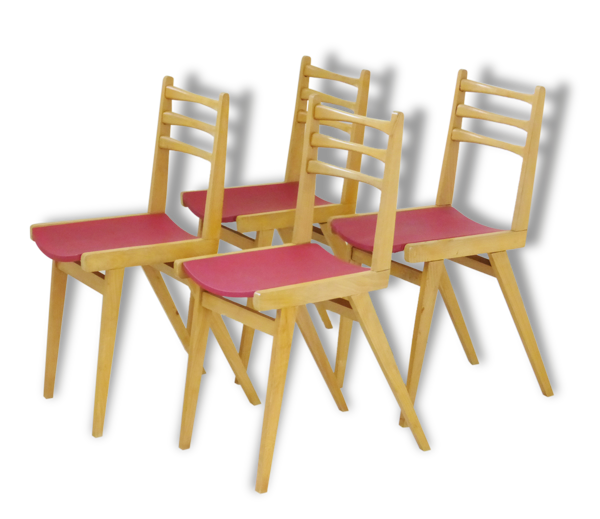 Suite de 4 chaises bistrot chêne zazou rouge vintage French mid-century modern chairs
