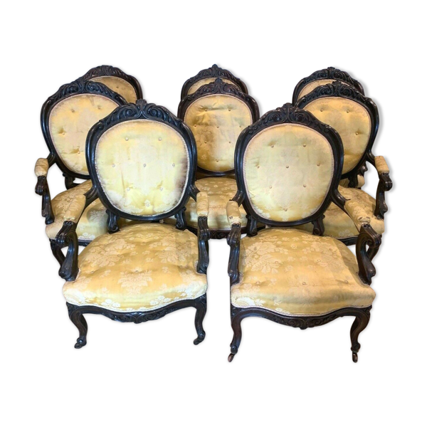 Fauteuils Napoléon III en palissandre suite de huit fauteuils XIX siècle