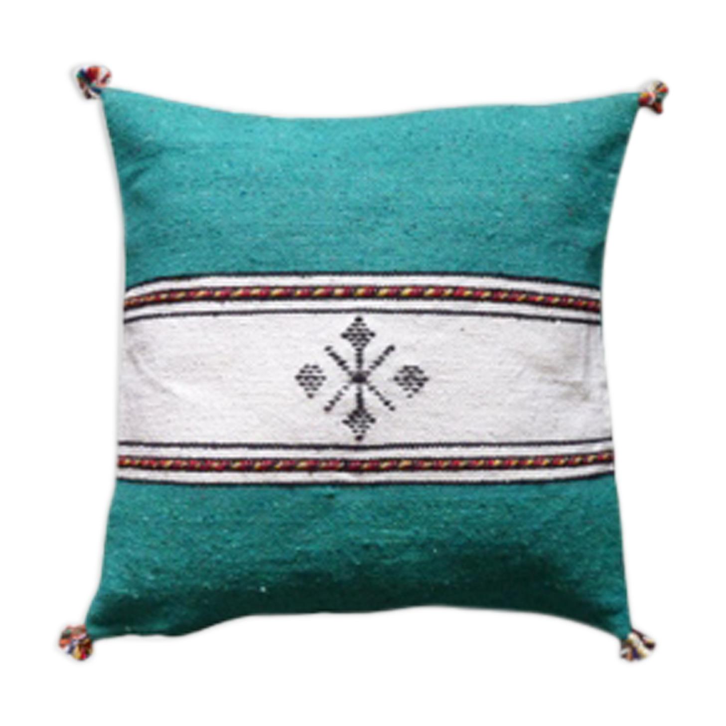 Coussin berbère marocain vert et blanc