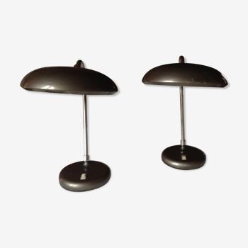 Paire de lampes de bureau vintage orientables, années 70