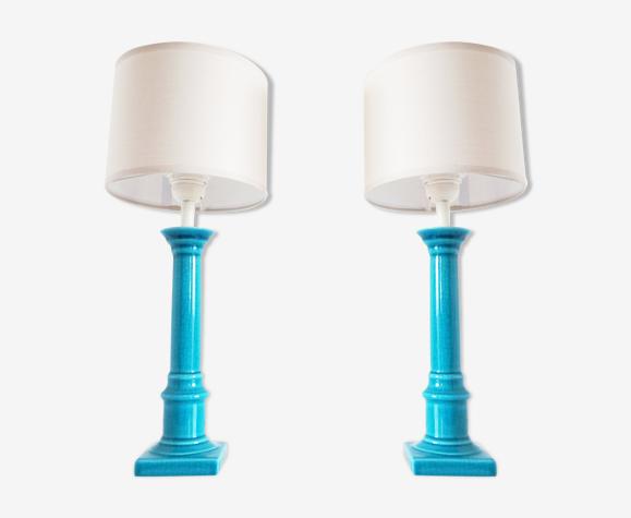 Paire de lampes céramique turquoise