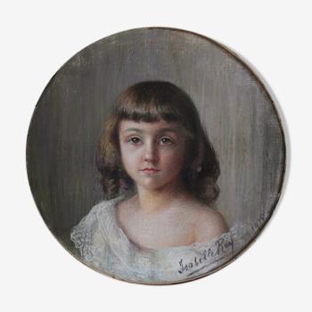 Portrait jeune fille pastel daté et signé