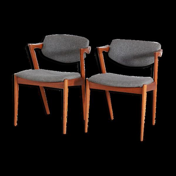 Paire de chaises modèle 42 par Kai Kristiansen pour Schou Andersen