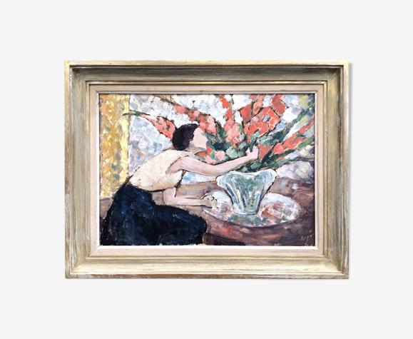 """Tableau """" La femme au bouquet de glaïeuls"""""""