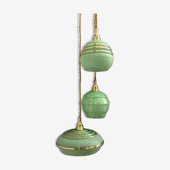 Suspension cascade trois feux, globes vintage art déco