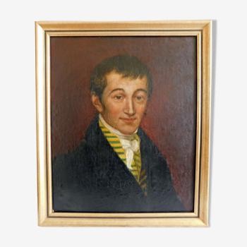 Portrait de jeune homme de qualité huile sur toile marouflée sur panneau XIXème  école française