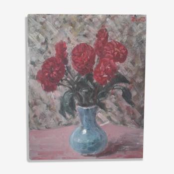 Tableau ancien nature morte au bouquet de fleurs rouges. circa 50
