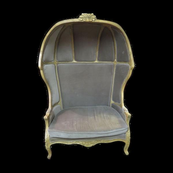 Banquette fauteuil cathédrale double de style Louis XV