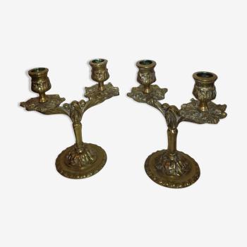 Paire de bougeoirs en bronze