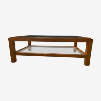 Table basse à deux plateaux en verre