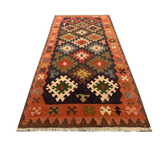 Tapis Persan Kilim fait à la main en laine 125x380cm