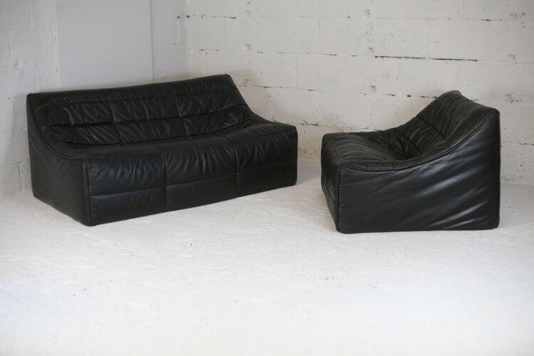 Ensemble canapé et fauteuil modèle Anaïs de Michel Ducaroy, édition Roset, France, 1981