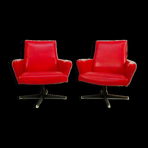 Selency Lot de 2 fauteuils pivotants rouges de Drevotvar, 1978