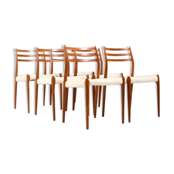 Ensemble de six chaises à manger en teck par Niels O. Moller, modèle no 78