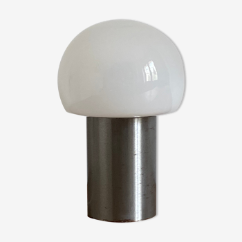 Mushroom lamp, stainless and opaline, 1970s